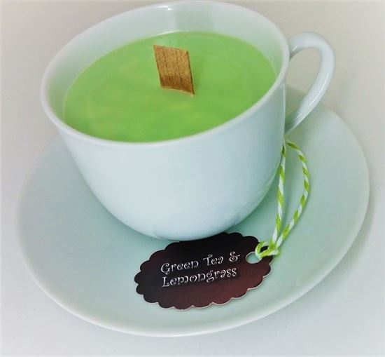 Picture of TEA CUP & SAUCER - CANDLE GIFT SET - Green Tea & Lemongrass